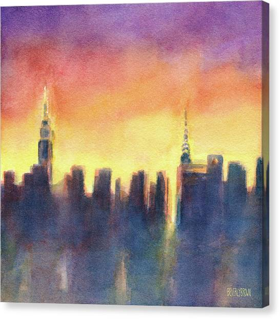New York Skyline Canvas Print - New York Sunset After The Rain by Beverly Brown Prints