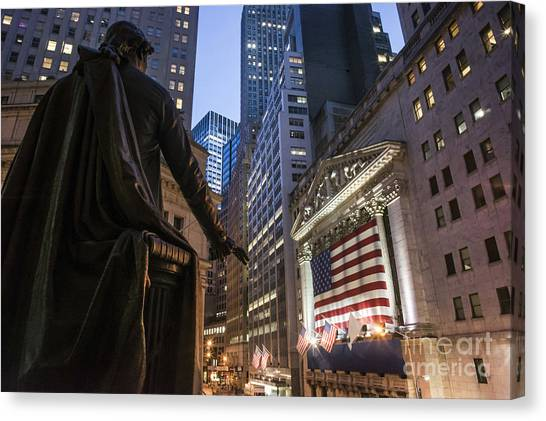 Canvas Print featuring the photograph New York Wall Street by Juergen Held