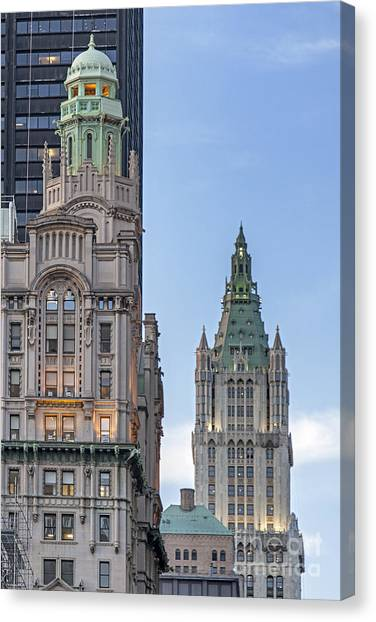 Canvas Print featuring the photograph New York Woolworth Building  by Juergen Held