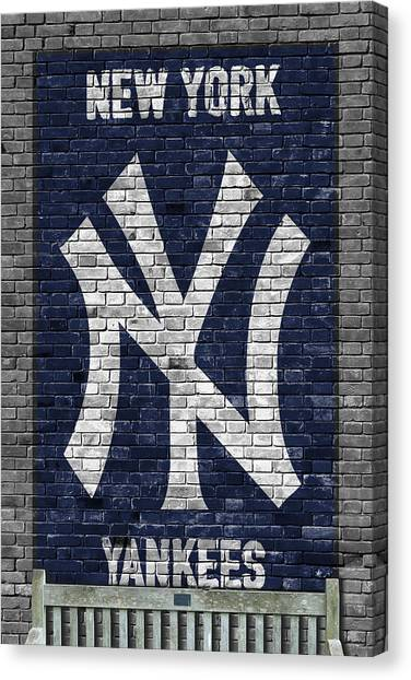 Bat Canvas Print - New York Yankees Brick Wall by Joe Hamilton