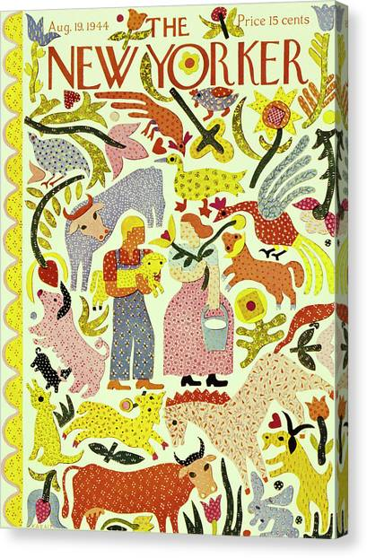 Chicken Farms Canvas Print - New Yorker Magazine Cover Of A Quilt Of A Couple by Ilonka Karasz
