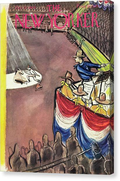 New Yorker Magazine Cover Of A Rodeo Canvas Print by Victor De Pauw