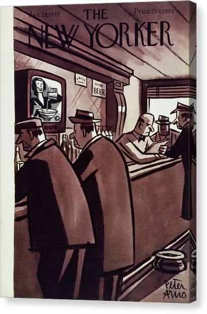New Yorker Magazine Cover Of Men In A Bar Canvas Print