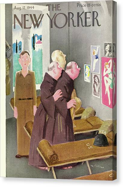New Yorker Magazine Cover Of Monks Staring Canvas Print