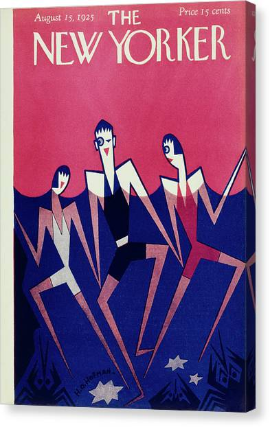 New Yorker Magazine Cover Of People Swimming Canvas Print by H O Hofman
