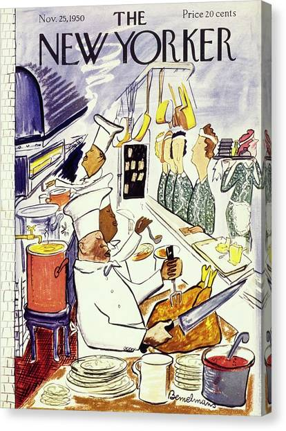 Cranberry Sauce Canvas Print - New Yorker November 25 1950 by Ludwig Bemelmans