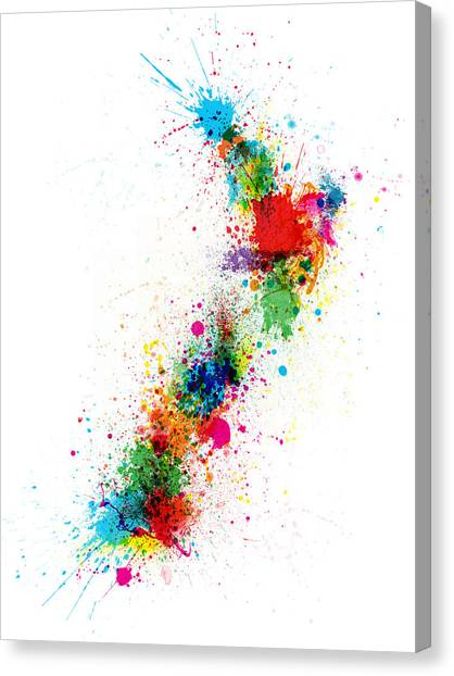 Kiwis Canvas Print - New Zealand Paint Splashes Map by Michael Tompsett