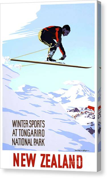 New Zealand Winter Sports Vintage Travel Poster Canvas Print