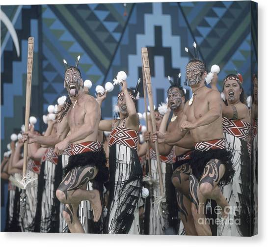 Canvas Print featuring the photograph New Zealand,north Island,  Rotorua Arts Festival,dance And Singi by Juergen Held