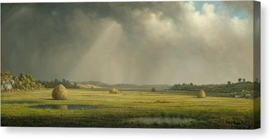 American Painters Canvas Print - Newburyport Meadows  by Martin Johnson Heade