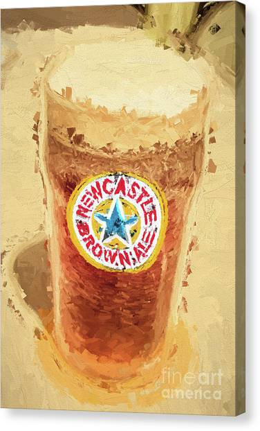 Pint Glass Canvas Print - Newcastle Brown Ale Digital Artwork by Jorgo Photography - Wall Art Gallery