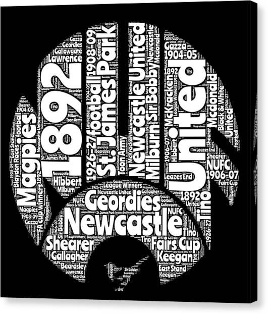 Word Art Canvas Print - Newcastle United Football Club Word Art by Stew Lamb