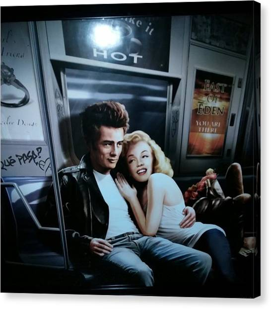 Marilyn Monroe Canvas Print - Marilyn And James by Shana Hirn
