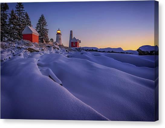 Pemaquid Point Canvas Print - Newfallen Snow At Pemaquid Point by Rick Berk
