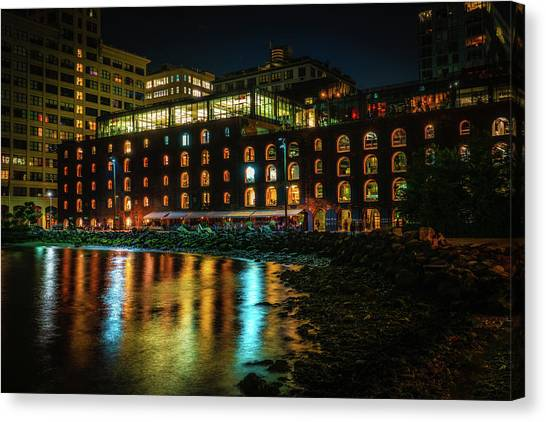 Canvas Print featuring the photograph Newly Gentrified Warehouse At Night by Chris Lord