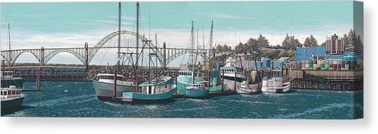Crabbing Canvas Print - Newport Bayfront by Andrew Palmer