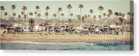 Newport Beach Skyline Vintage High Resolution Panorama Photo Canvas Print by Paul Velgos