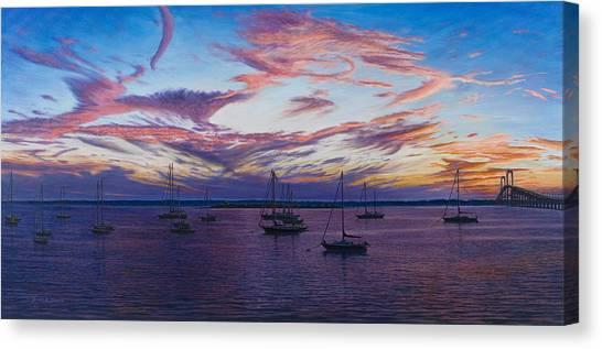 Newport Lights Canvas Print by Bruce Dumas
