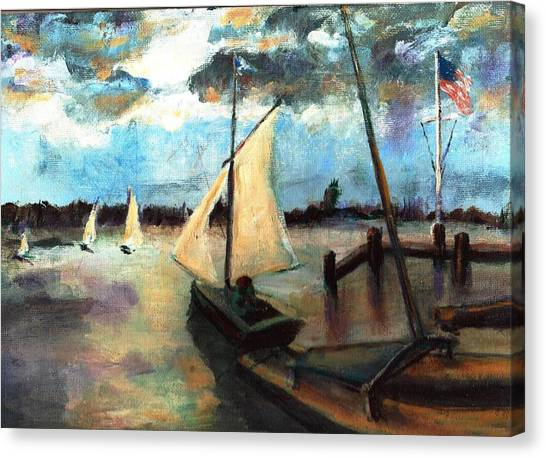 Newport Moonlight Sail Canvas Print by Randy Sprout