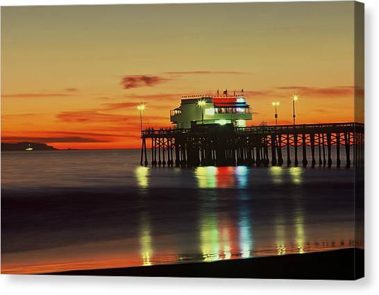 Newport Pier After Sunset Canvas Print