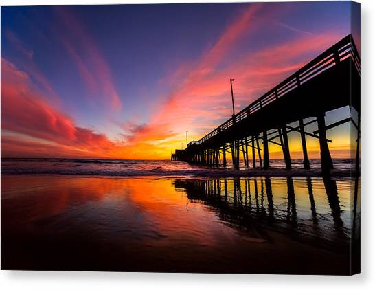 Beach Sunsets Canvas Print - Newport Pier by Cole Pattschull