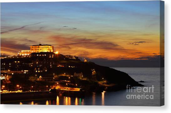 Newquay Harbor At Night Canvas Print