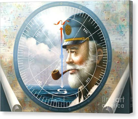 News  Map Captain  Or  Sea Captain Canvas Print