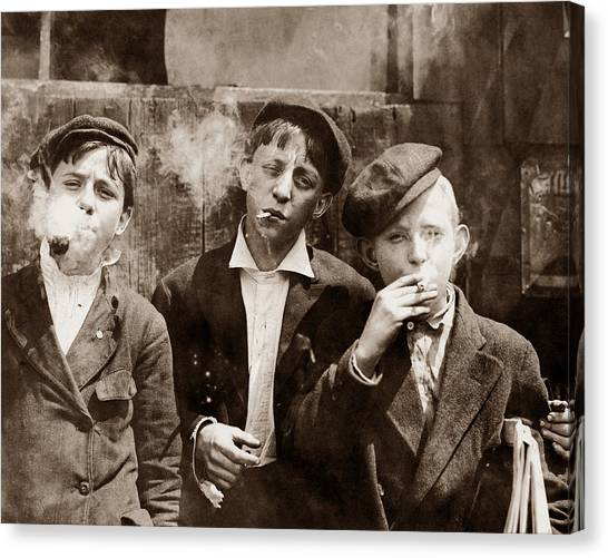 Vintage Canvas Print - Newsboys Smoking - 1910 Child Labor Photo by War Is Hell Store