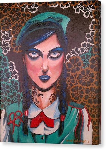 Girl Scouts Canvas Print - Next To Last Girl Scout by David Scott Wright