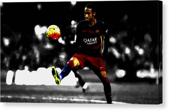 Neymar Jr Canvas Print - Neymar 09c by Brian Reaves