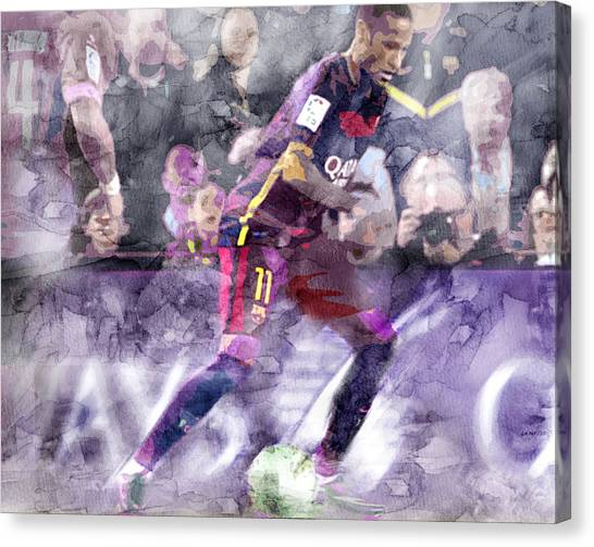 Neymar Jr Canvas Print - Neymar 6740 by Jani Heinonen