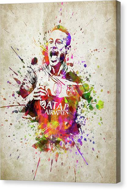 Fc Barcelona Canvas Print - Neymar In Color by Aged Pixel