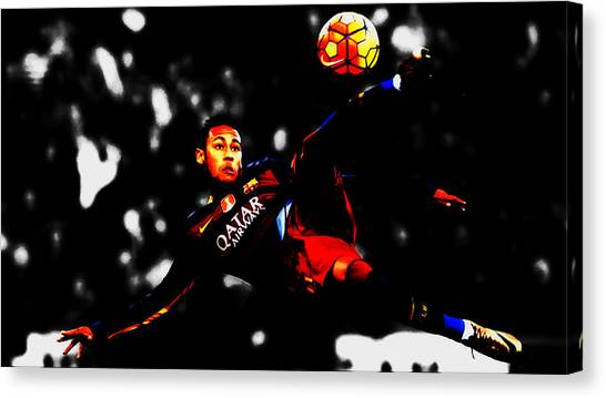 Neymar Jr Canvas Print - Neymar In Flight by Brian Reaves