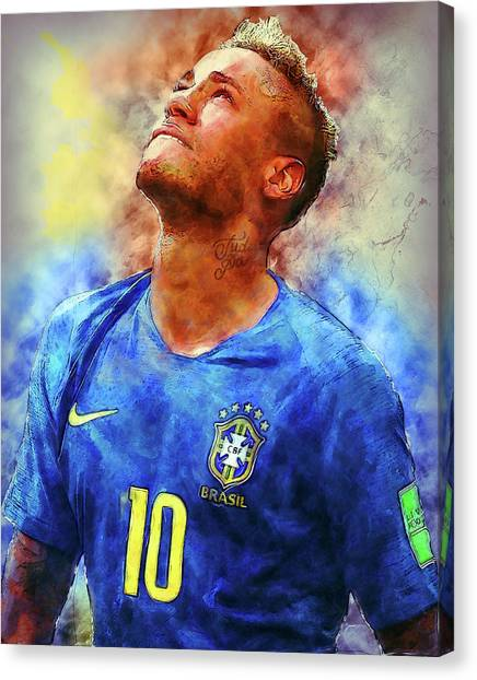 Neymar Jr Canvas Print - Neymar Jr Art Painting by Andres Ramos