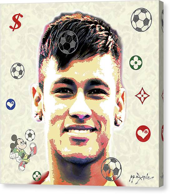 Neymar Jr Canvas Print - Neymar Jr - Brazil by Dr Eight Love
