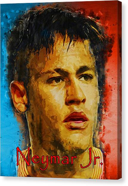 Neymar Jr Canvas Print - Neymar Jr. by Edelberto Cabrera