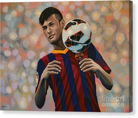 Lionel Messi Canvas Print - Neymar by Paul Meijering