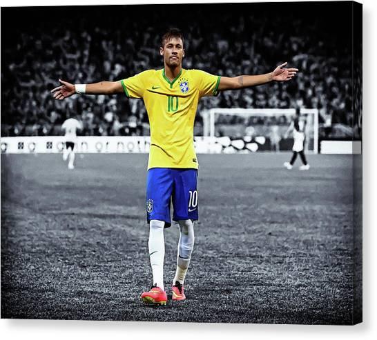 Neymar Jr Canvas Print - Neymar Scores Landscape Painting by Andres Ramos