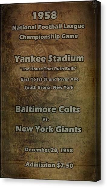 South Baltimore Canvas Print - Nfl Championship Game 1958 by David Dehner