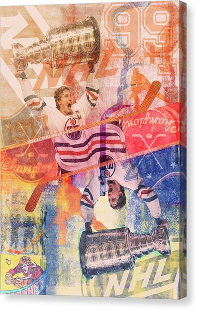 Wayne Gretzky Canvas Print - Nhl 100 Years by Kirby Wilson