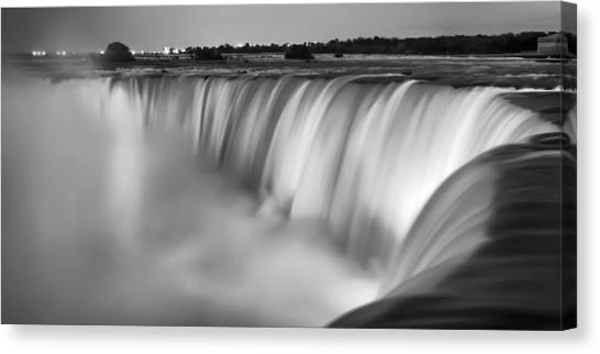 Horseshoe Falls Canvas Print - Niagara Falls At Dusk Black And White by Adam Romanowicz