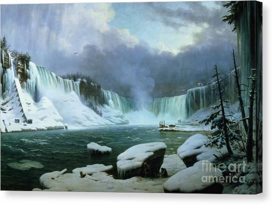 Horseshoe Falls Canvas Print - Niagara Falls by Hippolyte Victor Valentin Sebron