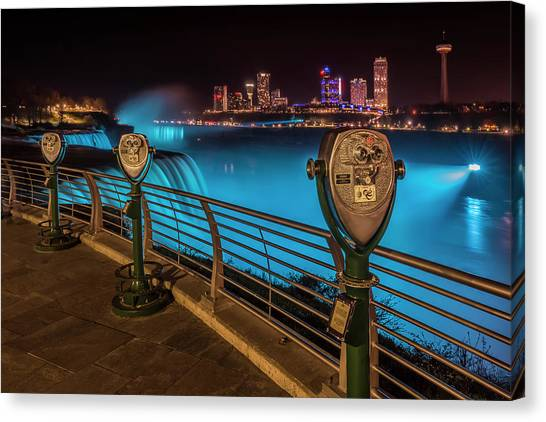 Horseshoe Falls Canvas Print - Niagara Falls Idyllic Nightscape by Melanie Viola