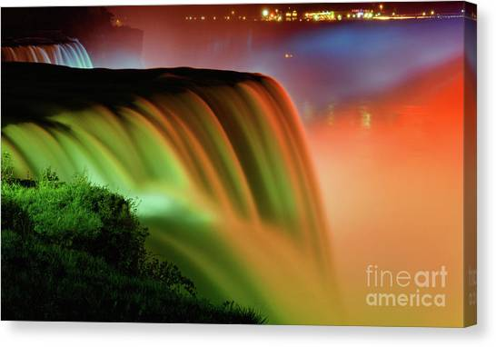 City Landscape Canvas Print - Niagara Falls Illumination Of Lights At Night by Charline Xia
