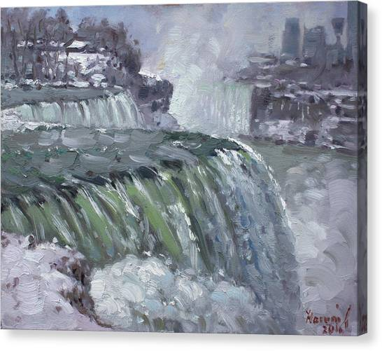 Niagara Falls Canvas Print - Niagara Falls In Winter  by Ylli Haruni