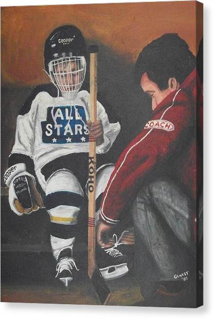 Hockey Players Canvas Print - Nice And Tight by Ron  Genest