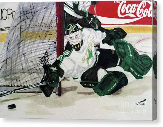 Dallas Stars Canvas Print - Nice Save by Paul DeDoes