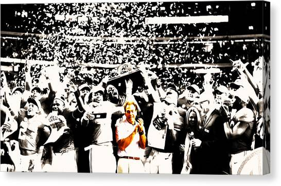 Miami University - Oxford Miami Of Ohio Canvas Print - Nick Saban Celebrates by Brian Reaves