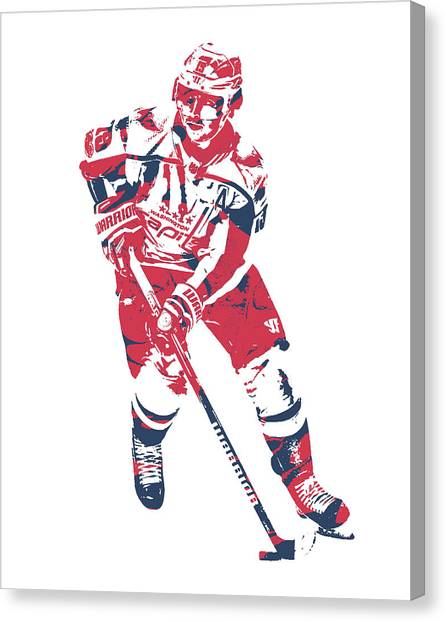 Washington Capitals Canvas Print - Nicklas Backstrom Washington Capitals Pixel Art 10 by Joe Hamilton