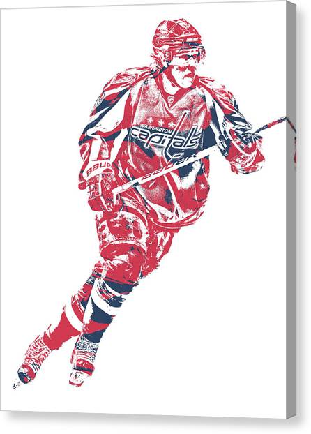 Washington Capitals Canvas Print - Nicklas Backstrom Washington Capitals Pixel Art 12 by Joe Hamilton